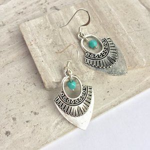 Thai Silver triangle w/ Turquoise bead Earrings